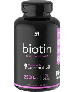 Biotin (2,500mcg) with Coconut Oil | Supports Healthy Hair, Skin & Nails in Biotin deficient Individuals | Non-GMO Verified & Vegan Certified (120 Veggie-Softgels)