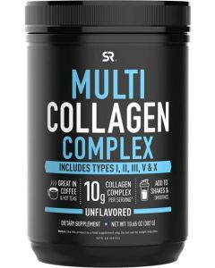 Multi Collagen Protein Powder (Type I, II, III, V, X) with Hyaluronic Acid Plus Vitamin C (302 GM, 30 Servings, Unflavoured)_ Includes 5 Types of Food Based Collagen, Non-GMO Verified
