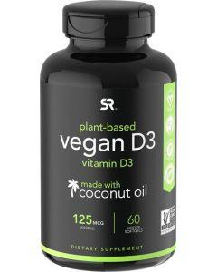 Vegan Vitamin D3 (5000iu/125mcg) with Organic Virgin Coconut Oil ~ Bone, Joint and Immune Support ~ Vegan Certified, Non-GMO & Gluten Free (60 Veggie-Softgels)